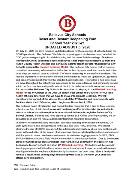 Updated August 5 - Bellevue City Schools Reset and Restart Reopening Plan