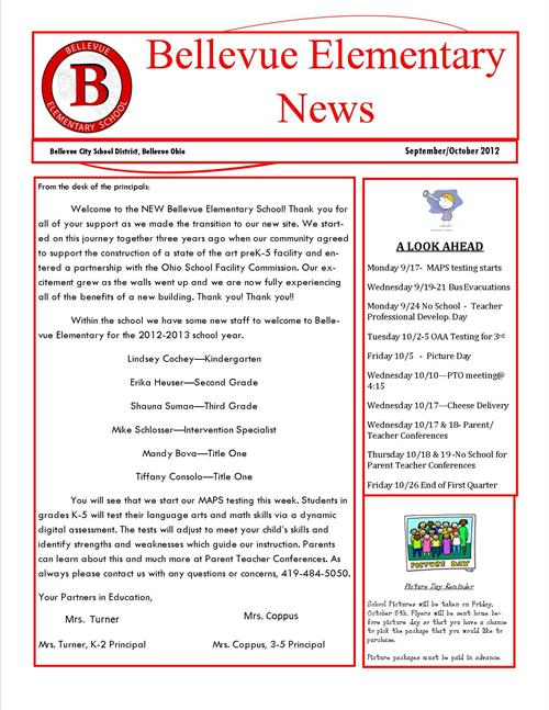elementary newsletter. september october newsletter ...