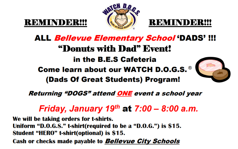 WatchD.O.G.S. - Donuts with Dads - January 19 7am-8am BES
