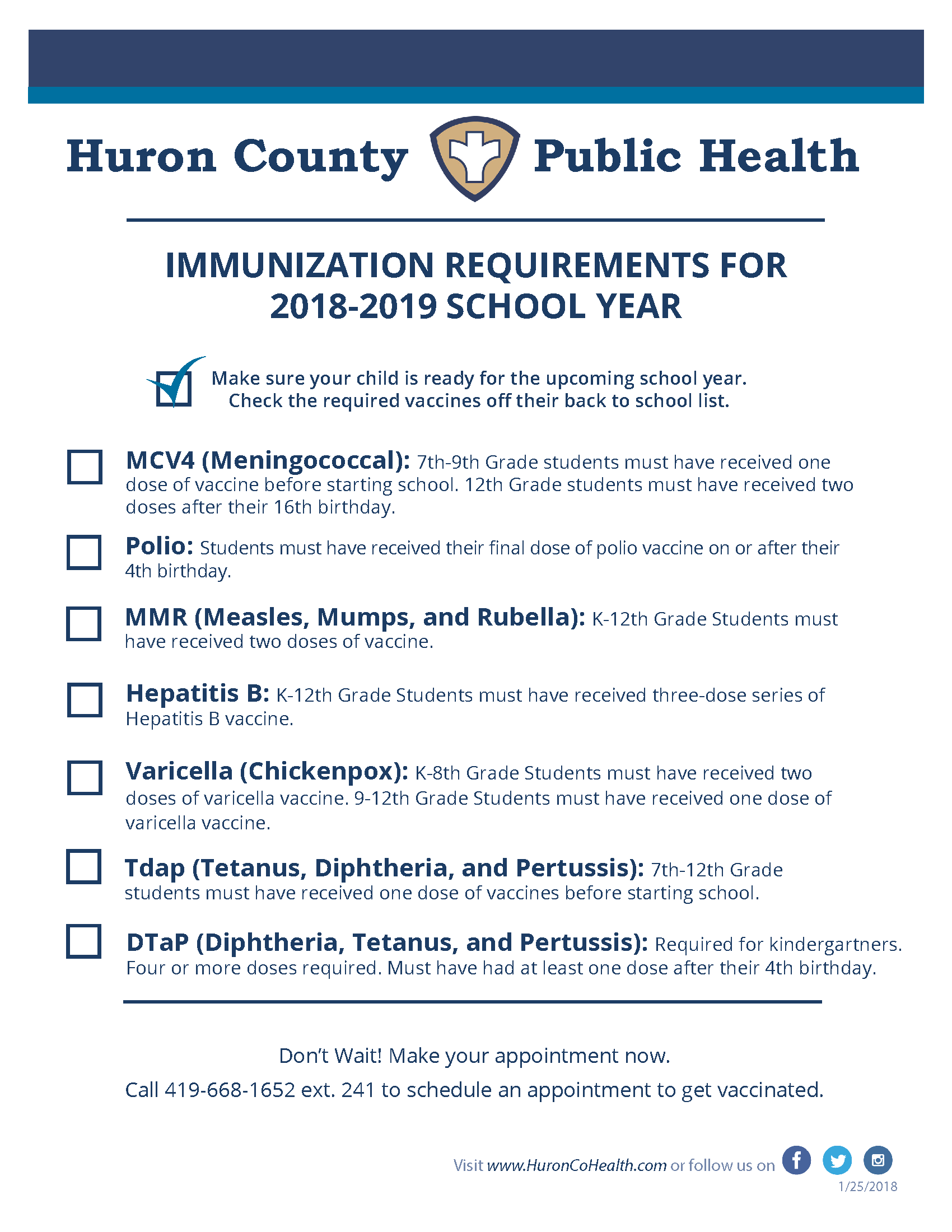 Immunization Requirements 2018-19
