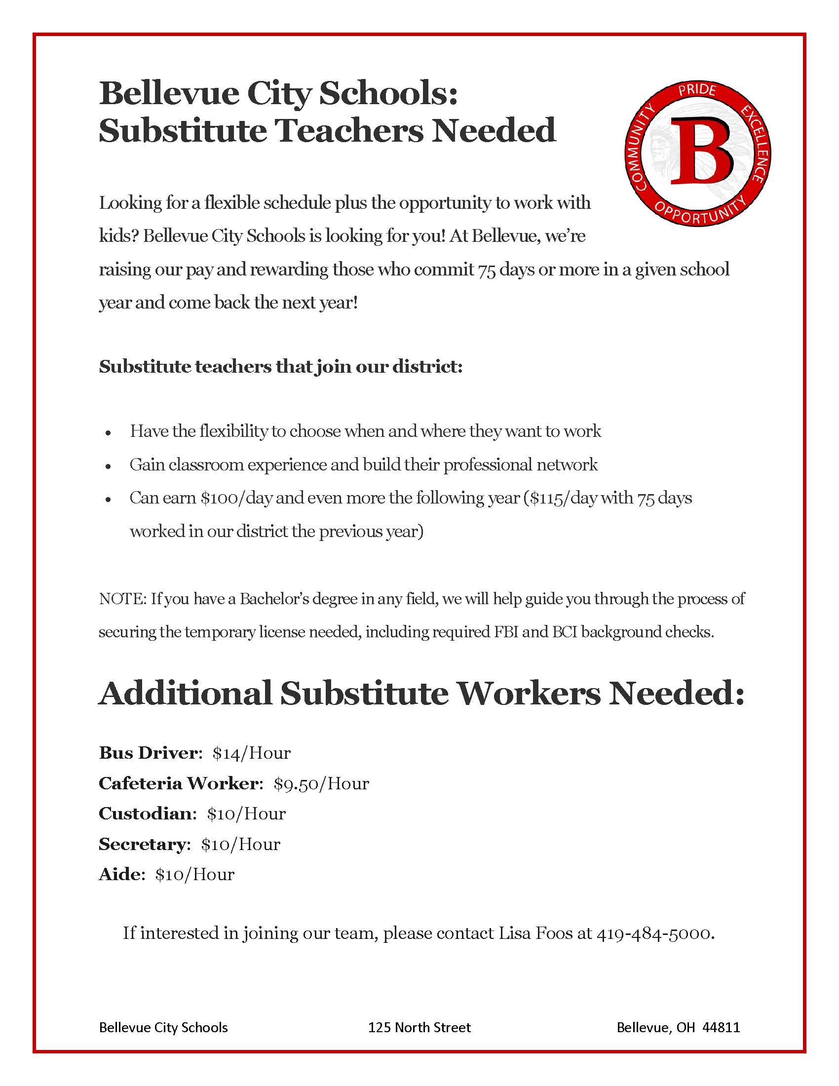 Substitute Teacher and Support Staff Needed - Link to PDF